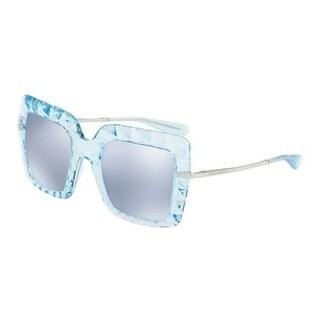 Dolce & Gabbana Women's DG6111 31346J 51 Blue Mirror White Square Sunglasses