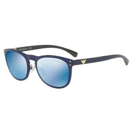 f1f9b2dfe9e Shop Emporio Armani Women s EA4098 556355 54 Dark Blue Mirror Blue Oval  Sunglasses - Free Shipping Today - Overstock - 18012857