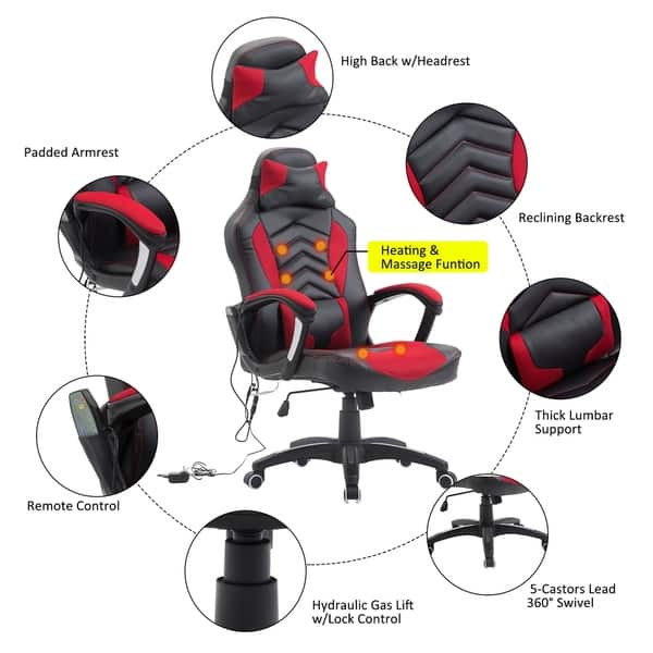Admirable Shop Homcom High Back Racing Style Massage Ergonomic Gaming Creativecarmelina Interior Chair Design Creativecarmelinacom
