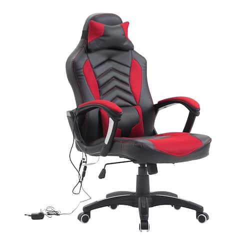 HomCom High Back Racing Style Massage Ergonomic Gaming Chair With Lumbar And Head Support - Red / Black