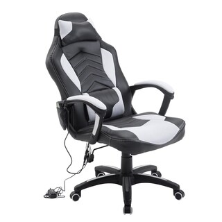 HomCom High Back Racing Style Massage Ergonomic Gaming Chair with Lumbar & Head Support