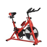 Soozier Upright Stationary Exercise Cycling Bike with LCD Monitor - Red