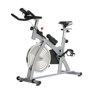Soozier Upright Stationary Exercise Bike with LCD Monitor - Silver