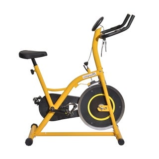 Soozier Upright Stationary Exercise Cycling Bike with LCD Monitor - Yellow