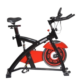 Soozier Pro Upright Stationary Exercise Cycling Bike with LCD Monitor - Red
