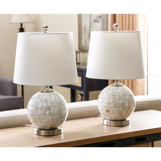 ABBYSON LIVING Mother Of Pearl Mini Round Table Lamp (Set of 2)