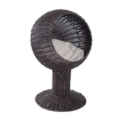 Pawhut Hooded Rattan Wicker Elevated Cat Bed