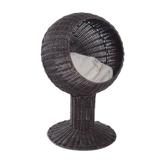 Link to Pawhut Hooded Rattan Wicker Elevated Cat Bed Similar Items in Cat Beds & Blankets