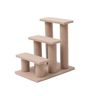 Pawhut 3 Step Scratching Post Cat Steps - SAND
