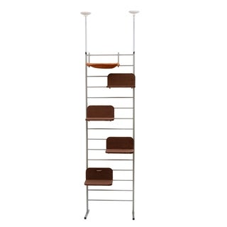 Pawhut Floor-to-Ceiling Adjustable Staggered Climbing Cat Tree Tower - gray and brown