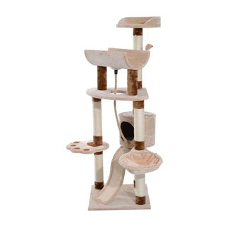 Pawhut Cat Tree Scratching Post Tower - beige
