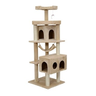 Pawhut Cat Tree Scratcher Post Condo with Hammock