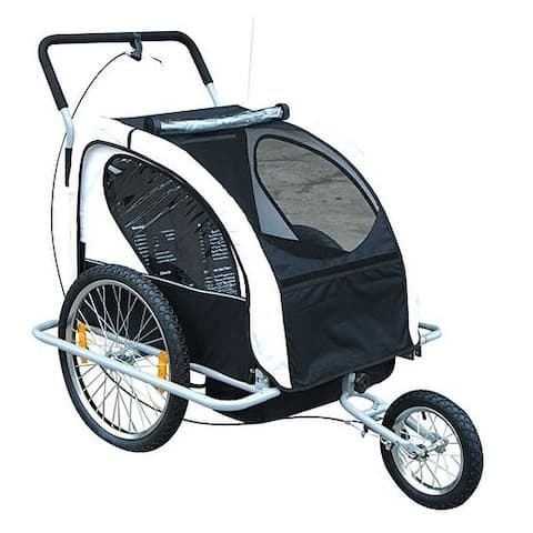 Aosom 2 in 1 Double Child Bike Trailer and Stroller