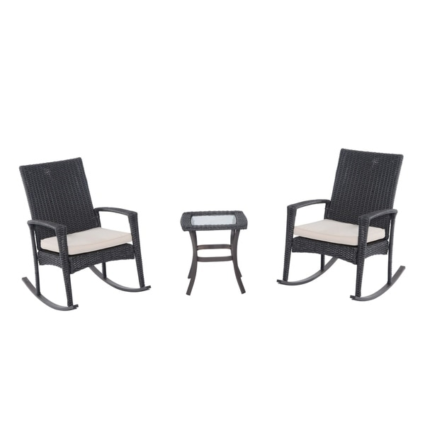 Outsunny Three Piece Outdoor Rocking Chair And Table Set   Gray