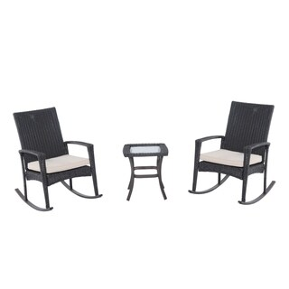 Outsunny Three Piece Outdoor Rocking Chair and Table Set