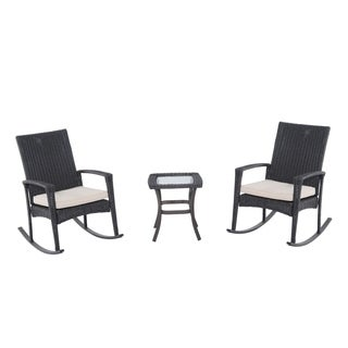 Outsunny Three Piece Outdoor Rocking Chair and Table Set - gray