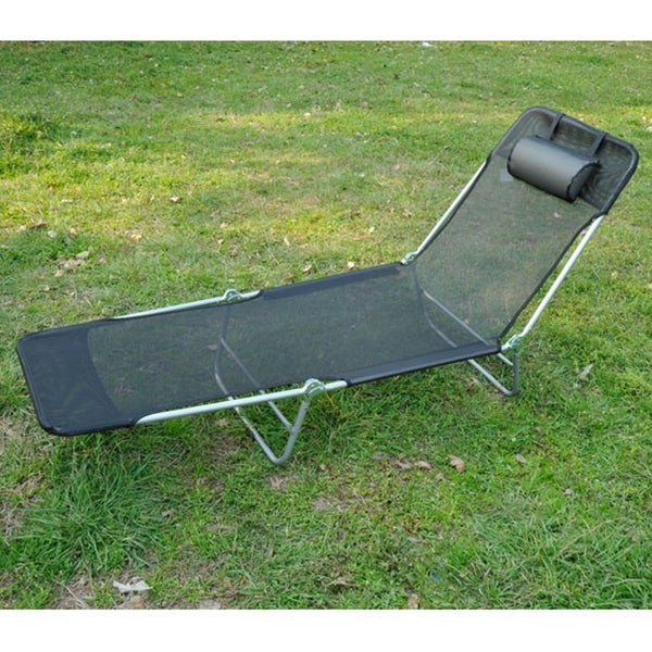 Outsunny Adjustable Folding Reclining Beach Sun Lounge Chair Bed Recliner Black
