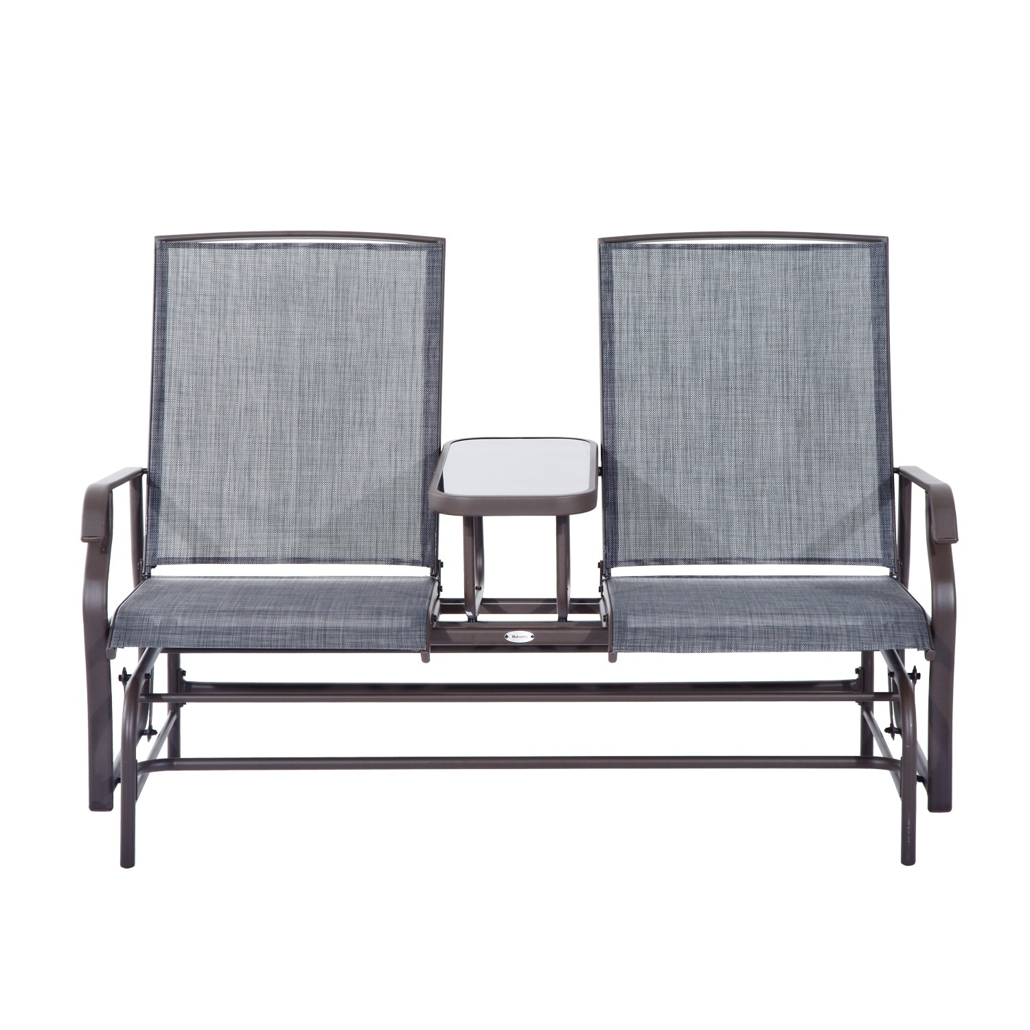 Enjoyable Outsunny Two Person Outdoor Mesh Fabric Patio Double Glider Chair With Center Table Short Links Chair Design For Home Short Linksinfo