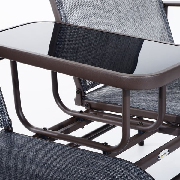 Outsunny Two Person Outdoor Mesh Fabric Patio Double Glider Chair With  Center Table   Free Shipping Today   Overstock.com   24182826