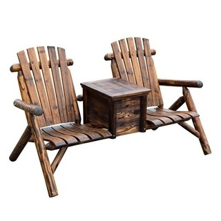 Outsunny Wooden Outdoor Two Seat Adirondack Patio Chair with Ice Bucket