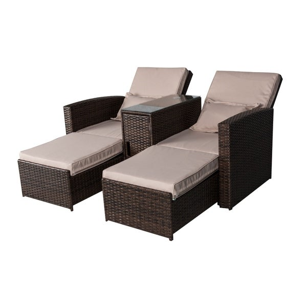 Outsunny 2 Person Outdoor Patio Rattan Wicker Cushioned Recliner Set