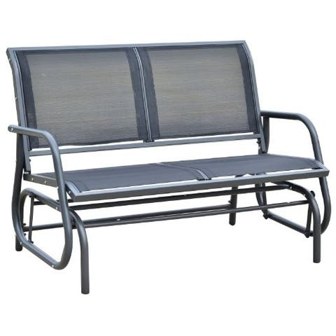 Outsunny Steel Sling Fabric Outdoor Double Glider Rocking Chair Bench with Curved Arms & Lightweight Construction, Black