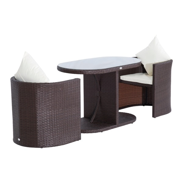 Superieur Outsunny Three Piece Table And Chair Rattan Wicker Patio Furniture Set