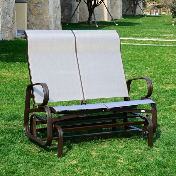 Outsunny Mesh Fabric 2 Person Outdoor Patio Double Glider Chair   Free  Shipping Today   Overstock.com   24182832