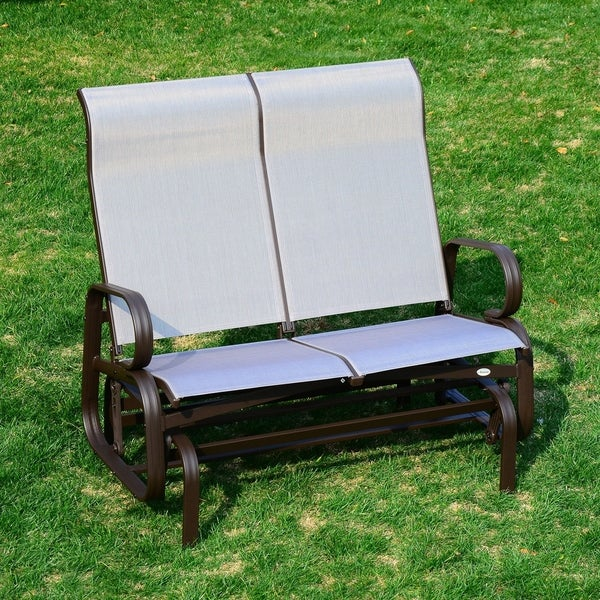 Attirant Outsunny Two Person Outdoor Mesh Fabric Patio Double Glider Chair