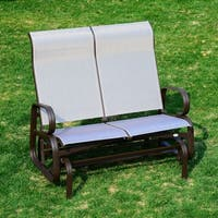 Outsunny Two Person Outdoor Mesh Fabric Patio Double Glider Chair
