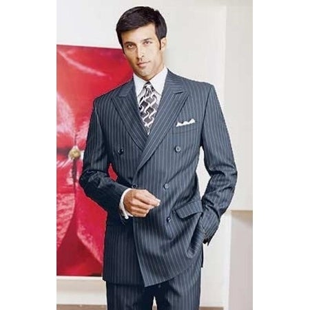 Roy Bradley 44R Mens Double Breasted Wool Suit in Navy Pinstripe ...