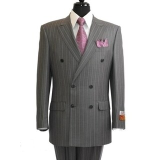 BY Roy Bradley Safari 44R Mens Double Breasted Wool Suit in Charcoal Pinstripe