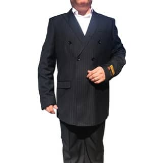 Roy Bradley 44L Mens Double Breasted Wool Suit in Navy Pinstripe|https://ak1.ostkcdn.com/images/products/18013326/P24182878.jpg?impolicy=medium