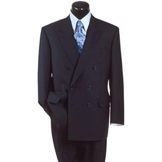 Roy Bradley 48L Mens Double Breasted Wool Suit in Navy