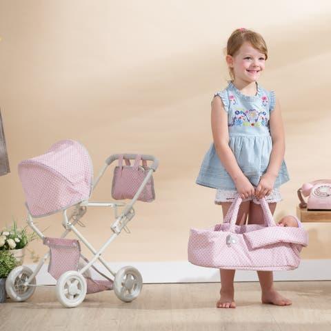 Olivia's Little World - Deluxe Stroller - Pink Polka Dots
