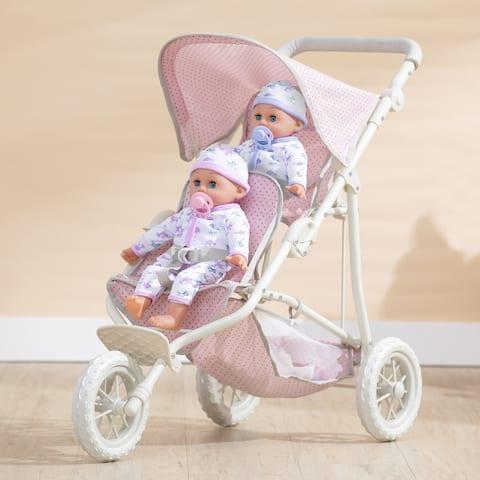 Olivia's Little World - Twin Jogging Stroller - Pink Polka Dots