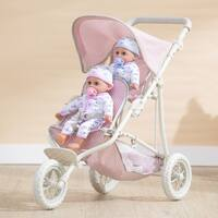 Olivia's Little World - Polka Dots Twin Jogging Stroller - Pink