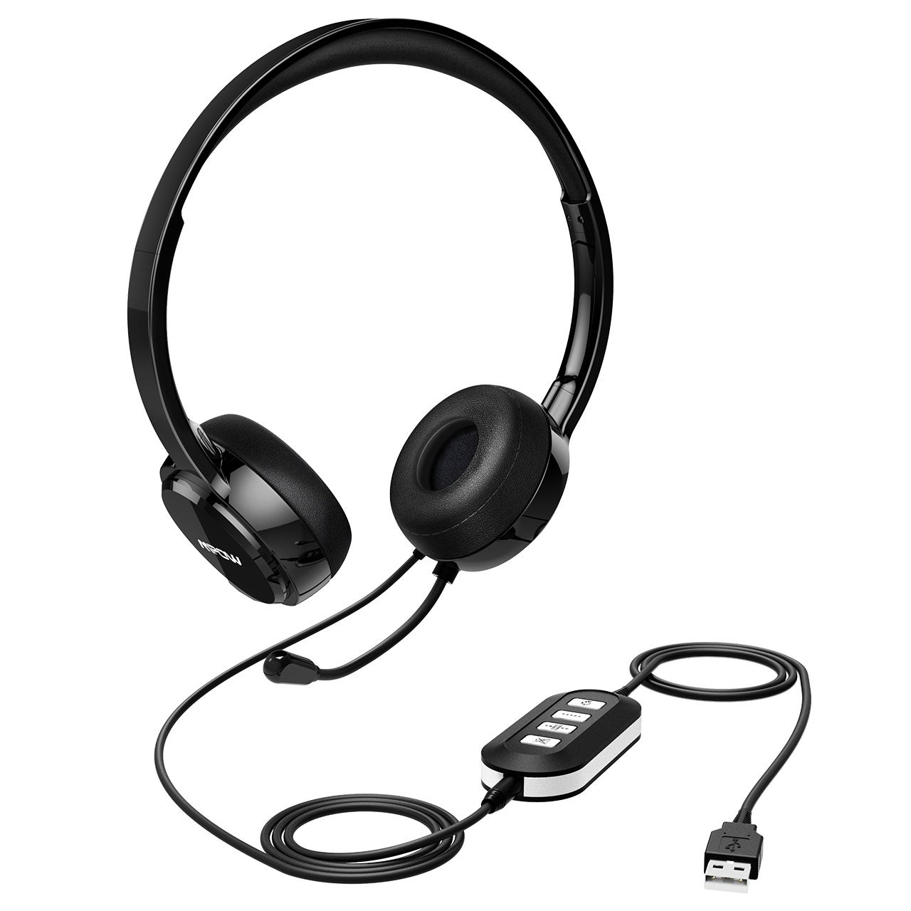 Mpow USB Headset with Noise Reduction Sound Card, In-line...