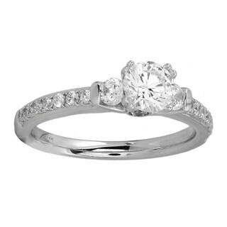 14KT White Gold 1 1/4cttw Diamond Engagement Ring - White I-J