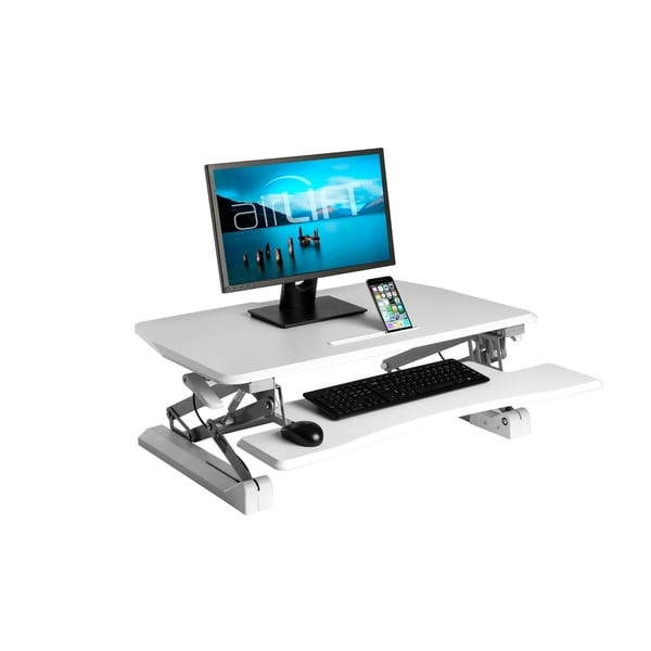 AIRLIFT White 35.4 in Height Adjustable Standing Desk Converter Workstation With Dual Monitor Riser and Keyboard Tray. Opens flyout.
