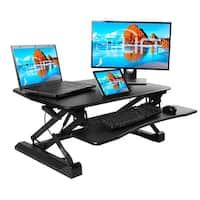 Seville Classics AIRLIFT™ Pneumatic Sit-to-Stand Adjustable Desktop Converter, Black