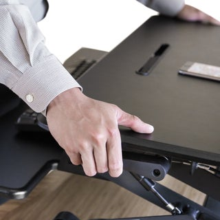 Seville Classics AIRLIFT Pneumatic Sit-to-Stand Adjustable Desktop Converter, Black