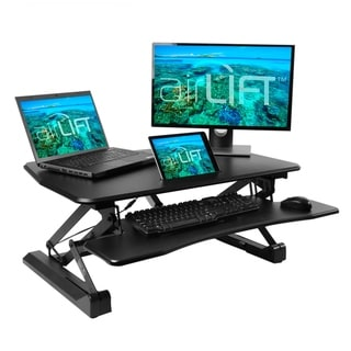 AIRLIFT Black 35.4 in Electric Height Adjustable Standing Desk Converter Workstation, Dual Monitor Riser w/Keyboard Tray