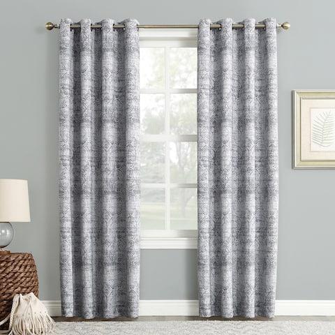 Sun Zero Darren Distressed Global Blackout Lined Grommet Curtain Panel