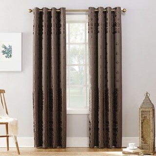 Sun Zero Elidah Velvet Medallion Blackout Grommet Curtain Panel