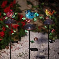 Set of 3 Bird Solar Light Garden Stakes