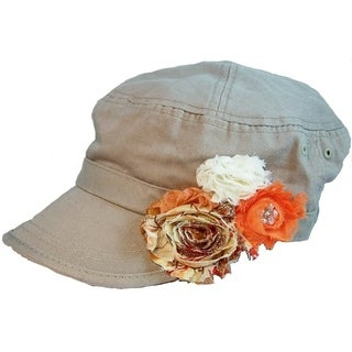 Women's Tan Cadet Hat with Shabby Flowers