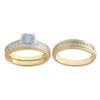 10KT White Gold 1/3cttw Men and Women's Engagement & Wedding Ring Set - White I-J