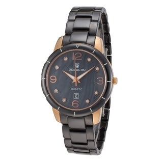 Debolon Women's Fashion Watch Rose Gold Stainless Steel Case Ceramic Bezel and Band by Rougois