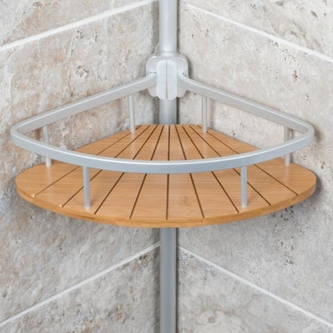 Aluminum Tension Pole Caddy with Bamboo - silver